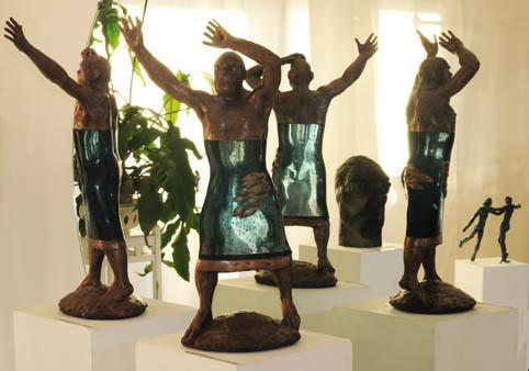 brons/glas figurer